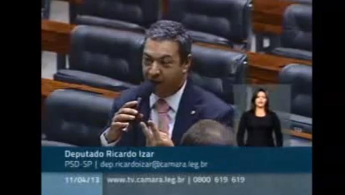 Dep. Ricardo Izar discursa solicitando apoio para os projetos sobre saúde dos animais