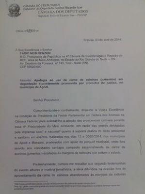 IZAR PEDE PROVIDÊNCIAS A PROCURADOR DO RN APÓS DEGUSTAÇÃO DE CARNE JUMENTOS