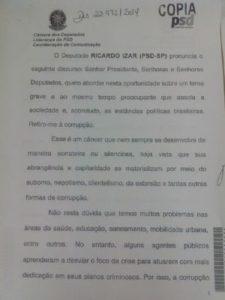 RICARDO IZAR FAZ DISCURSO CONTRA A CORRUPÇÃO E PEDE QUE ELEITORES PARTICIPEM DO PROCESSO POLÍTICO
