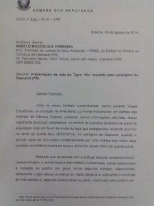 RICARDO IZAR (PSD/SP) ENVIA OFÍCIO AO PROCURADOR ANGELO MAZZUCHI S. FERREIRA DA COMARCA DE CASCAVEL E PEDE PELA VIDA DO TIGRE HU