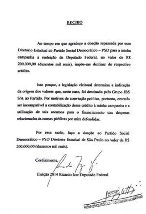 Diário do Poder: DEPUTADO DEVOLVE DOAÇÃO DE R$ 200 MIL DA JBS FRIBOI