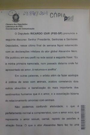 RICARDO IZAR FAZ DISCURSO EM REPÚDIO AO COMENTÁRIO DO ATOR ALEXANDRE NERO