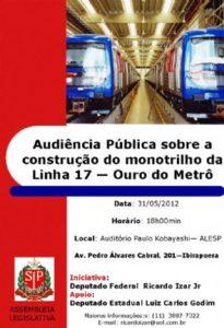 Audiência Pública para Debater Monotrilho no Morumbi será na ALESP